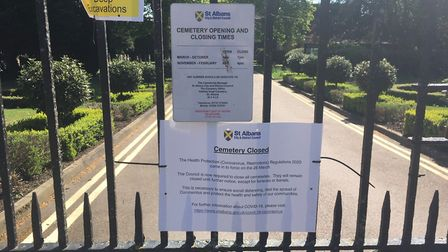 Hatfield Road cemetery gates remain closed leaving St Albans mourners unable to visit. Picture: Matt