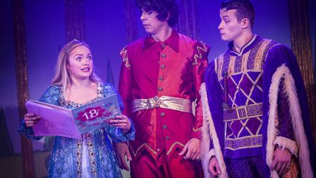 Jemma Carlisle, Andy Day and Phillip Ryan in St Albans pantomime Sleeping Beauty at The Alban Arena.