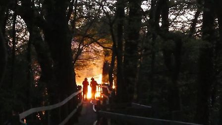 A fire at the Paxton Pits Nature Reserve on Friday night destroyed one of the hides