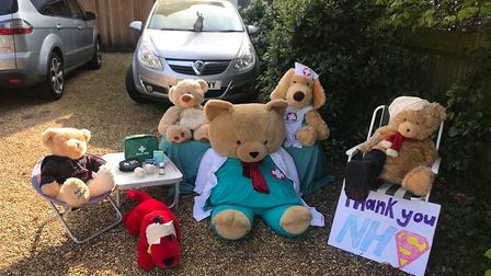 Thieves have stolen this teddy bear display from outside a house in Homewood Road, St Albans.