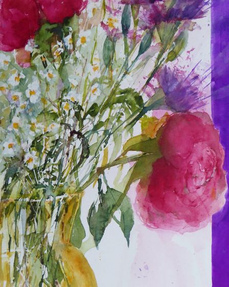 Carol Whitehouse's picture 'Yellow vase with flowers' for the Royston Arts Society's online exhibiti