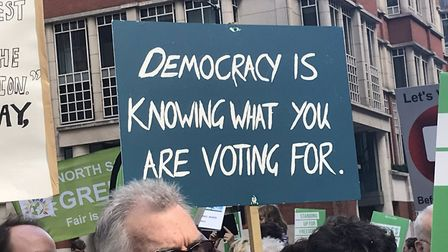 A placard at a People's Vote march. Photograph: Amanda Jones.