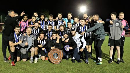Colney Heath celebrate after winning the Herts Charity Shield for the second successive season in 20