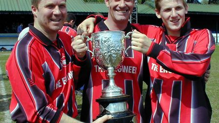 Harpenden Rovers goalscorers in the 2002-2003 Bingham Cox Cup final: Gary Mair, Paul Turner and Gile