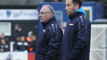 St Albans City manager Ian Allinson and assistant Chris Winton at Wealdstone. Picture: JIM STANDEN
