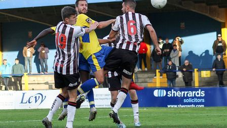 Sam Merson in action for St Albans City against Bath City at Clarence Park. Picture: JIM STANDEN