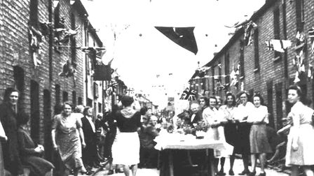 A street party in Russell Street, in St Neots, in May 1945