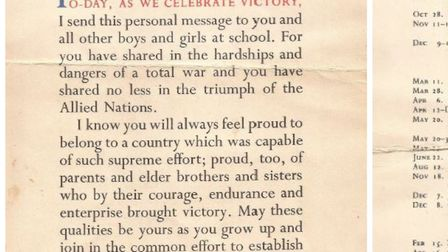 A special letter from the King George VI to mark the end of the Second World War has been unearthed
