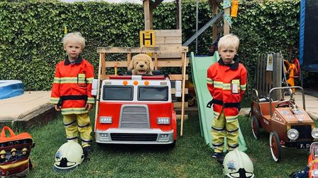 Twins Henry and Archer, sons of a Firefighter from Huntingdon PICTURE: Cambridgeshire Fire and Resc