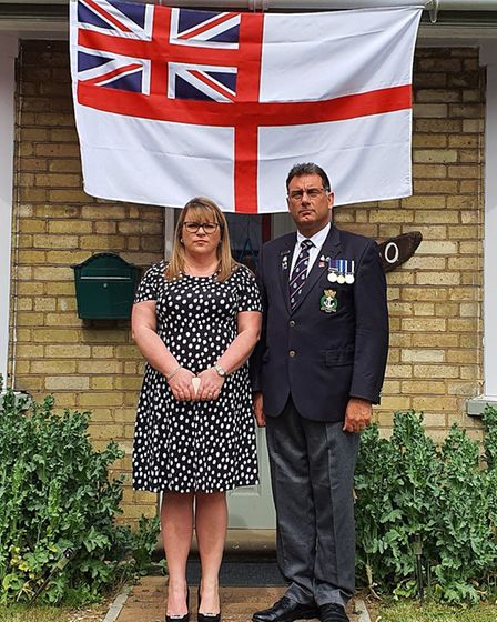 In Huntingdon, Karl Webb and wife Hilary Meers-Webb chose to mark VE Day with a two-minute silence.