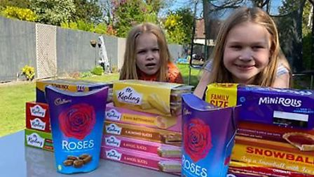 Kayla and Millie with their donation to Richard Cox House. Picture: RCH