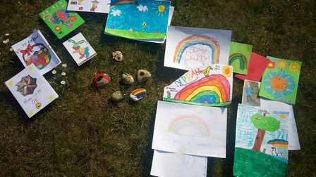 Paintings and pebbles from Royston Cubs. Picture: RCH