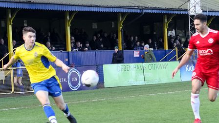 Jamie Fielding in action for St Albans City against Welling United. Picture: JIM STANDEN