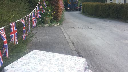 Lorries and trucks disrupted a VE Day street party in Arrington. Picture: Susie Fowler