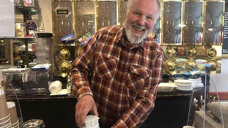 Gotz Kaul, who owns Caf Roma in St Peters Street has invented a gadget to help him serve coffee with