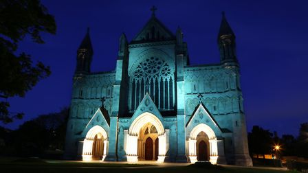 St Albans Cathedral has been illuminated in turquoise for Mental Health Awareness Week 2020.