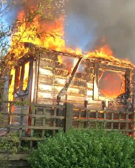 A shed on fire in Warboys