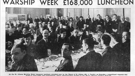 The St Albans Warships Week luncheon, as featured in the Herts Advertiser.