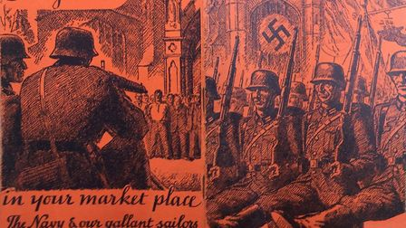 Nazis at St Albans Cathedral! The cover of the Warships Weeks booklet produced in St Albans.