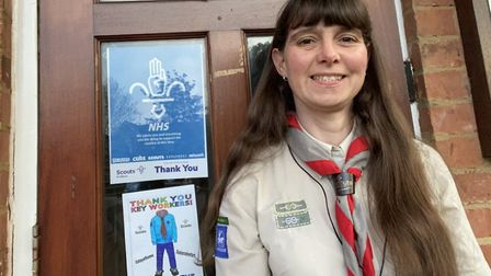 Rebecca Metcalfe from St Albans at the clap for carers on St George's Day. Picture: Supplied