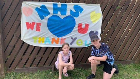 Jack and Ruby Potter from Gresley Way, Stevenage, made a banner to thank the NHS. Picture: Alex Pott