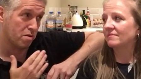 A husband and wife duo from St Neots recorded a tongue in cheek parody to classic hit 'Islands in th