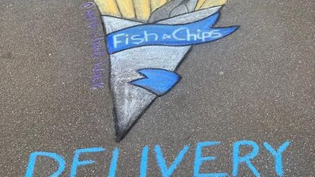 Artwork for The Ridgeway fish and chip shop by Zoe Andrews of Chalk Walk.