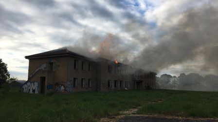 Fire at Former RAF Upwood site PICTURE: Cambridgeshire Fire