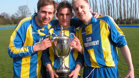Dolphin won the Herts Sunday Junior Cup in 2005 with goals from Simon Dean (left), Adam Price (middl