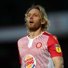 Former St Albans City Youth Craig Mackail-Smith playing for Stevenage against Colchester United in J