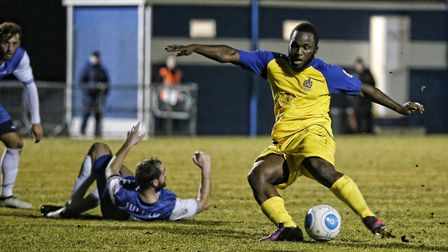 Junior Morias prepares to strike the ball into the back of the net. Picture: LEIGH PAGE