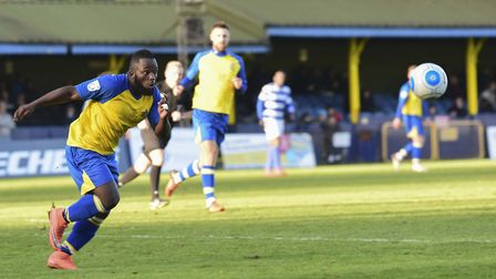 Junior Morias played his final game for St Albans City before a move to Peterborough United. Picture