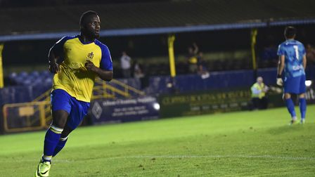 Junior Morias wheels away after making it 2-0. Picture: BOB WALKLEY