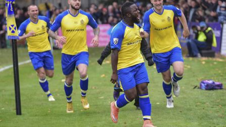 Junior Morias put St Albans City ahead in the FA Cup against Carlisle United with a stunning strike.