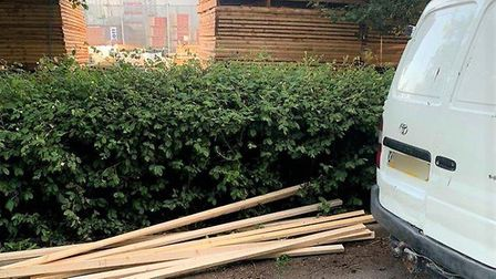 Three men to appear in court after theft of wood from Wickes in Huntingdon. Picture: CAMBS POLICE