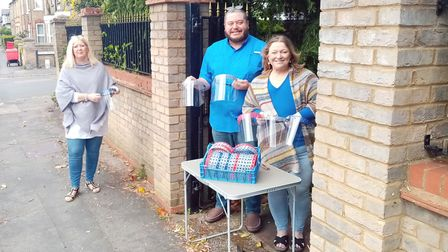 St Neots couple produce 2300 face shields at home for local hospitals. Cllr Caroline Green with Dawn