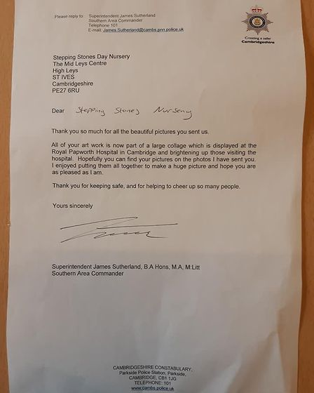 Letter from Cambridgeshire Police to Stepping Stones Nursery in St Ives PICTURE: Cambridgeshi