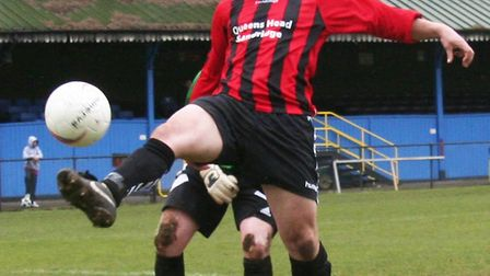 Chris Wickens completes his hat-trick for Queens Head in the Knockout Cup final against London Road