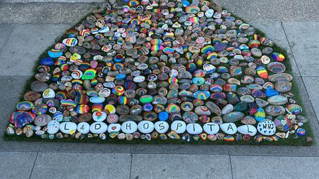 1st Harpenden Scouts group painted 500 personal stones to create a rainbow thank you to the NHS.