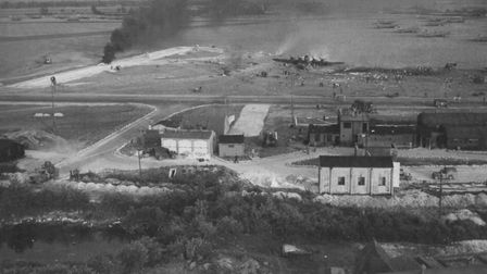 The 1943 explosion at RAF Alconbury, with the watch office in the foreground. Picture: AIRFIELD RESE