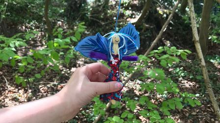 Phoebe Jaffray made a fairy to hang in Green Walk Plantation. Picture: Cathryn Jaffray