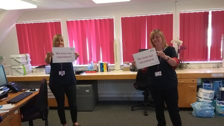 Rennie Grove Hospice at Home nurses Kate Robertson and Mary Richardson say thank you to the hospice'