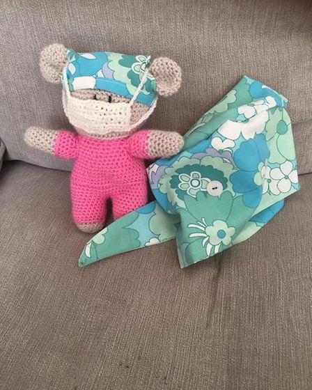 Salisbury Avenue Sewing Circle has been making hats, scrubs and other PPE for the NHS. Care bear and