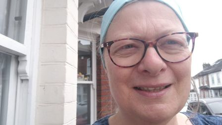 Salisbury Avenue Sewing Circle has been making hats, scrubs and other PPE for the NHS. Jane modellin