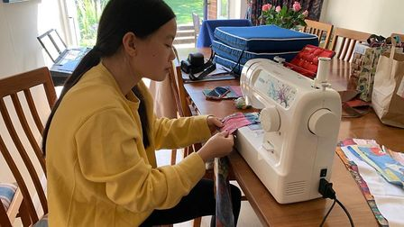 Salisbury Avenue Sewing Circle has been making hats, scrubs and other PPE for the NHS. Jasmine in ac