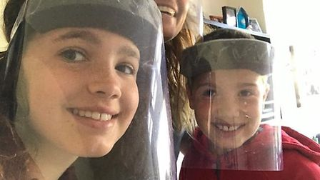 The Lorman family have joined in the St Columba's College visor-making programme.