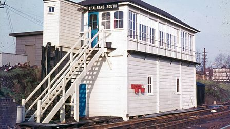 St Albans South Signal Box in its final operational state in the 1970s.