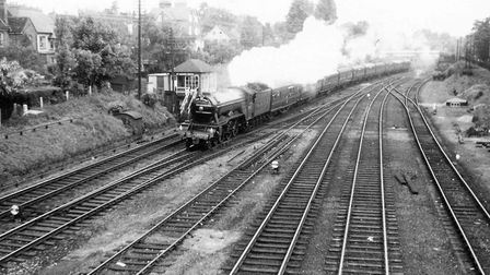 The Flying Scotsman passing St Albans South Signal Box in 1965.