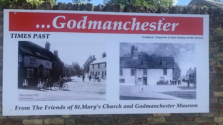 'God Bless Godmanchester' posters displayed on Vicarage Wall PICTURE: Mike Brown Archie