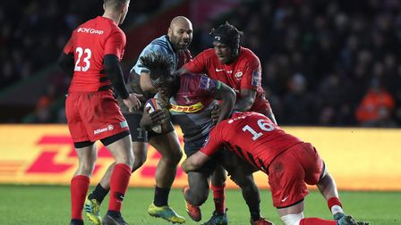 Joel Kpoku (standing, scrum cap) has signed a new two-year deal with Saracens. Picture: ANDREW MATTH